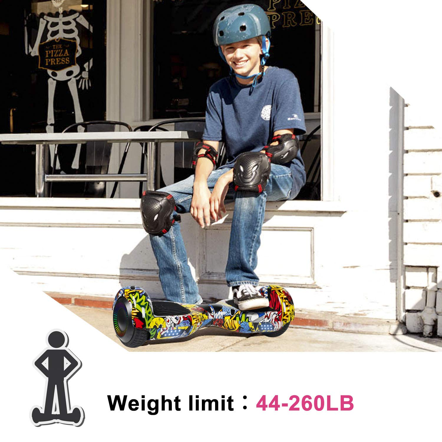 SISIGAD Hoverboard Self Balancing Scooter 6.5'' Two-Wheel Self Balancing Hoverboard with LED Lights Electric Scooter for Adult Kids Gift UL 2272 Certified Fun Edition - Graffiti by SISIGAD (Image #6)