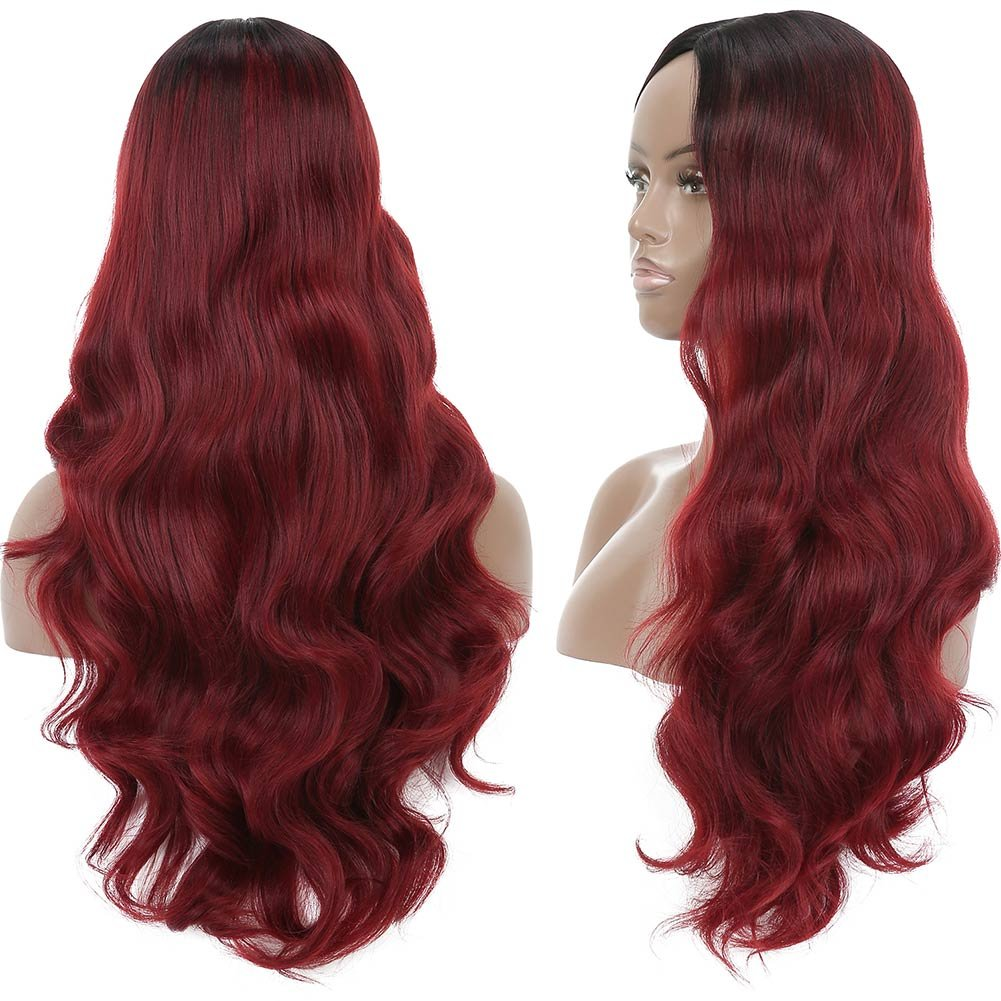 Armmu 28'' Red Ombre Long Body Wave Hair Full Wigs No Lace Wigs for Women 100% Synthetic Hair Burgundy Black Roots Wig (OTBUG) by Armmu (Image #3)