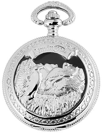 Reloj de bolsillo Blanco Plateado Negro Ganso Gansos ...