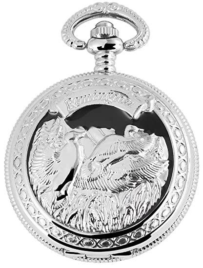Reloj de bolsillo Blanco Plateado Negro Ganso Gansos Remington Analógica Metal Cuarzo: Amazon.es: Relojes