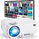 "Video Projector, 4500Lux Portable Mini Projector with 100"" Projector Screen, 1080P Supported Movie Projector Compatible…"