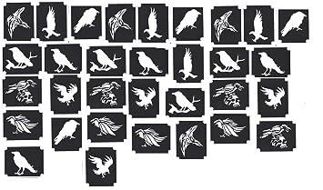 Plantillas para tatuaje con brillo Henna glitter tattoo stencils (Cuervo ...