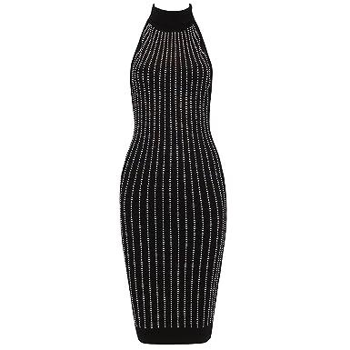 CIEMIILI Women Sleeveless Backless Vestidos Bandage Bodycon Dress