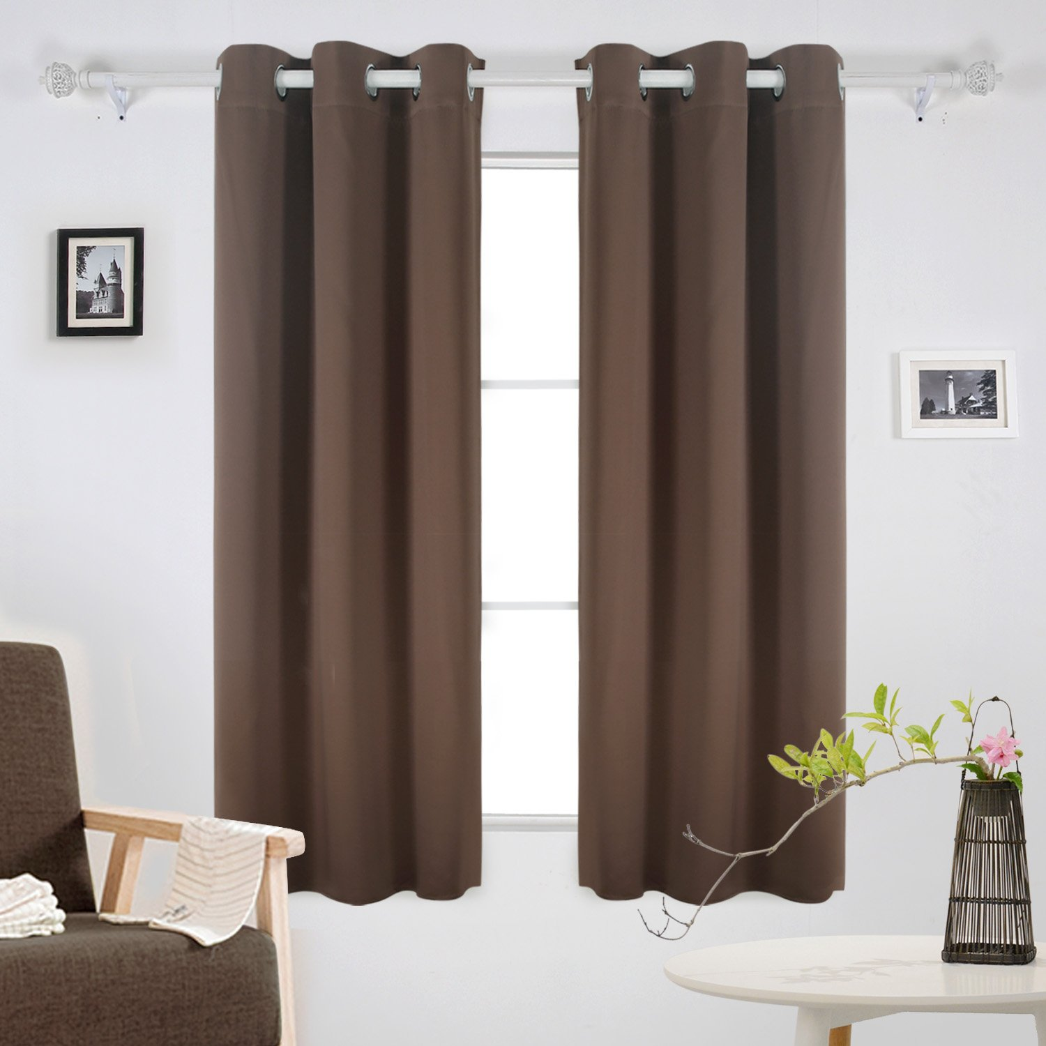 Deconovo Room Darkening Thermal Insulated Blackout Grommet Window Curtain Panel Sets of 2