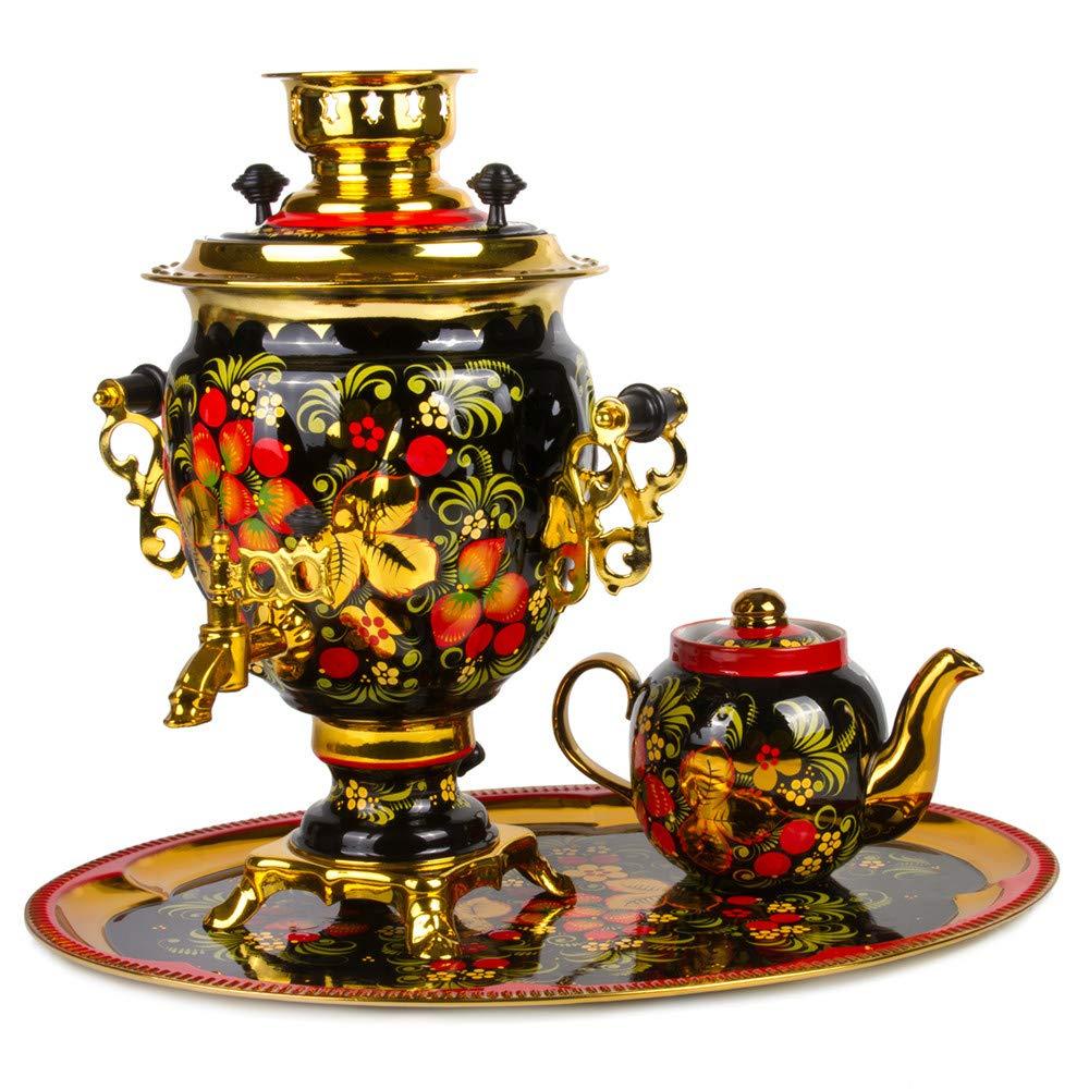 Khokhloma Electric Samovar Set with Tray & Teapot Russian Samovar Tea Maker by Tula (Image #1)
