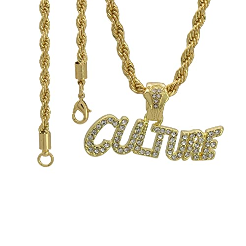 7fb21330a034b Jewel Town Men's 14k Gold Plated (CULTURE LETTER) Pendant Rope Chain ...