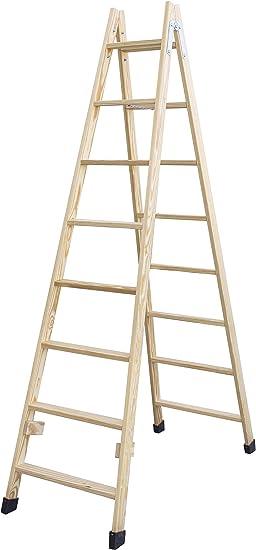 Escalera de tijera de madera con peldaño ancho de 54 mm. Fabricada en pino marítimo sin barnizar. (8 peldaños): Amazon.es: Bricolaje y herramientas