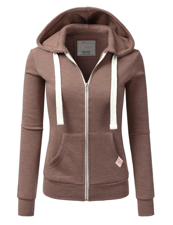 Doublju Lightweight Thin Zip-up Hoodie Jacket for Women with Plus Size Coffee Medium