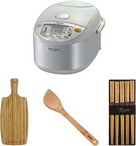 Zojirushi NS-YAC10 Umami Micom Rice Cooker and Warmer (Pearl White, 5.5 Cup Capacity) Bundle with Bamboo Cutting Board, Chopsticks and Spatula (4 Items)