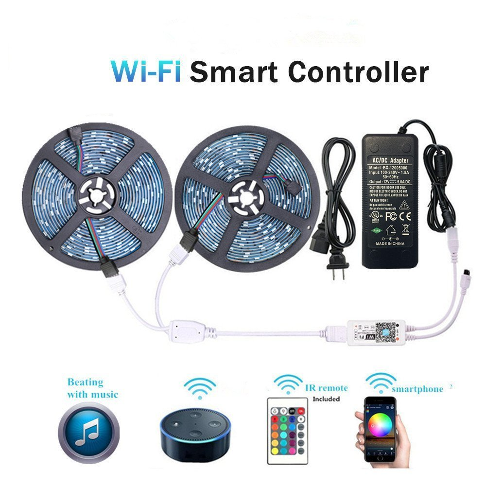 WenTop Wifi Wireless Smart Phone Controlled Led Strip Light Kit with DC12V UL Listed Power Supply Waterproof SMD 5050 32.8Ft(10M) 300leds RGB Music LED Light Strip Work with Android, IOS and Alexa