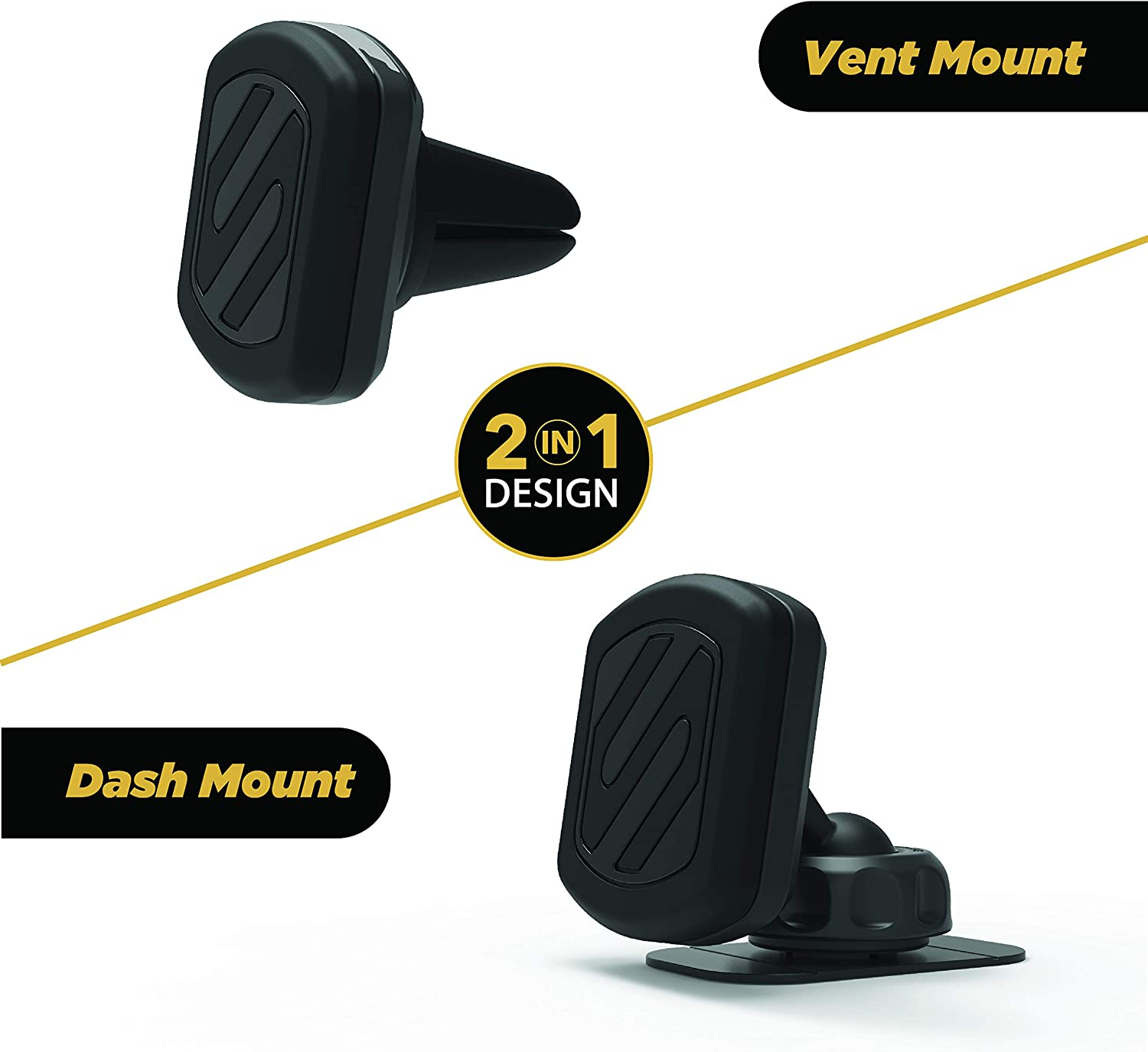 Pack of 2 Black SCOSCHE MMWSM-2PKXCES0 MagicMount Select Magnetic Suction Cup Mount Holder for Mobile Devices
