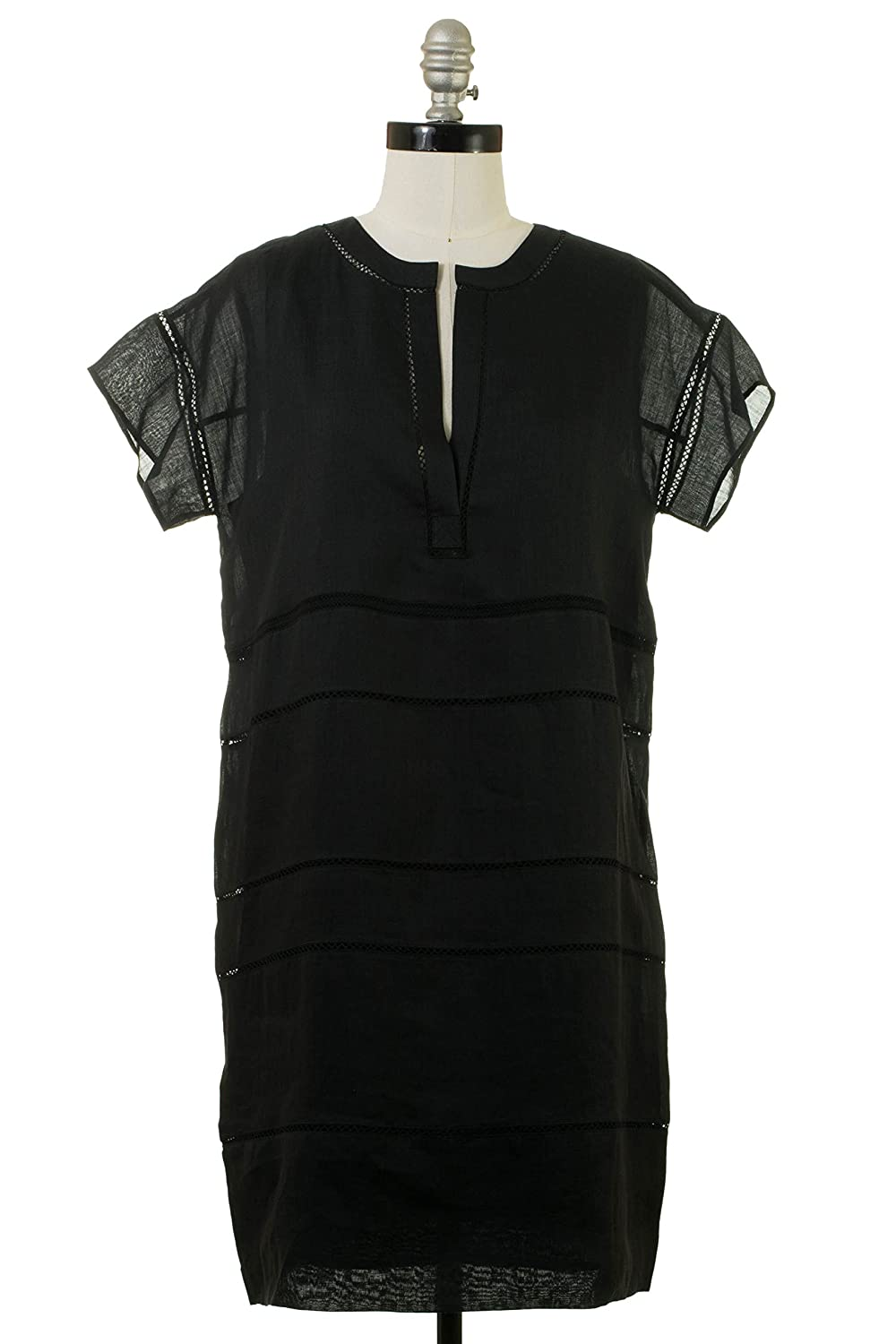 Vince Lace Inset Popover Dress in Black