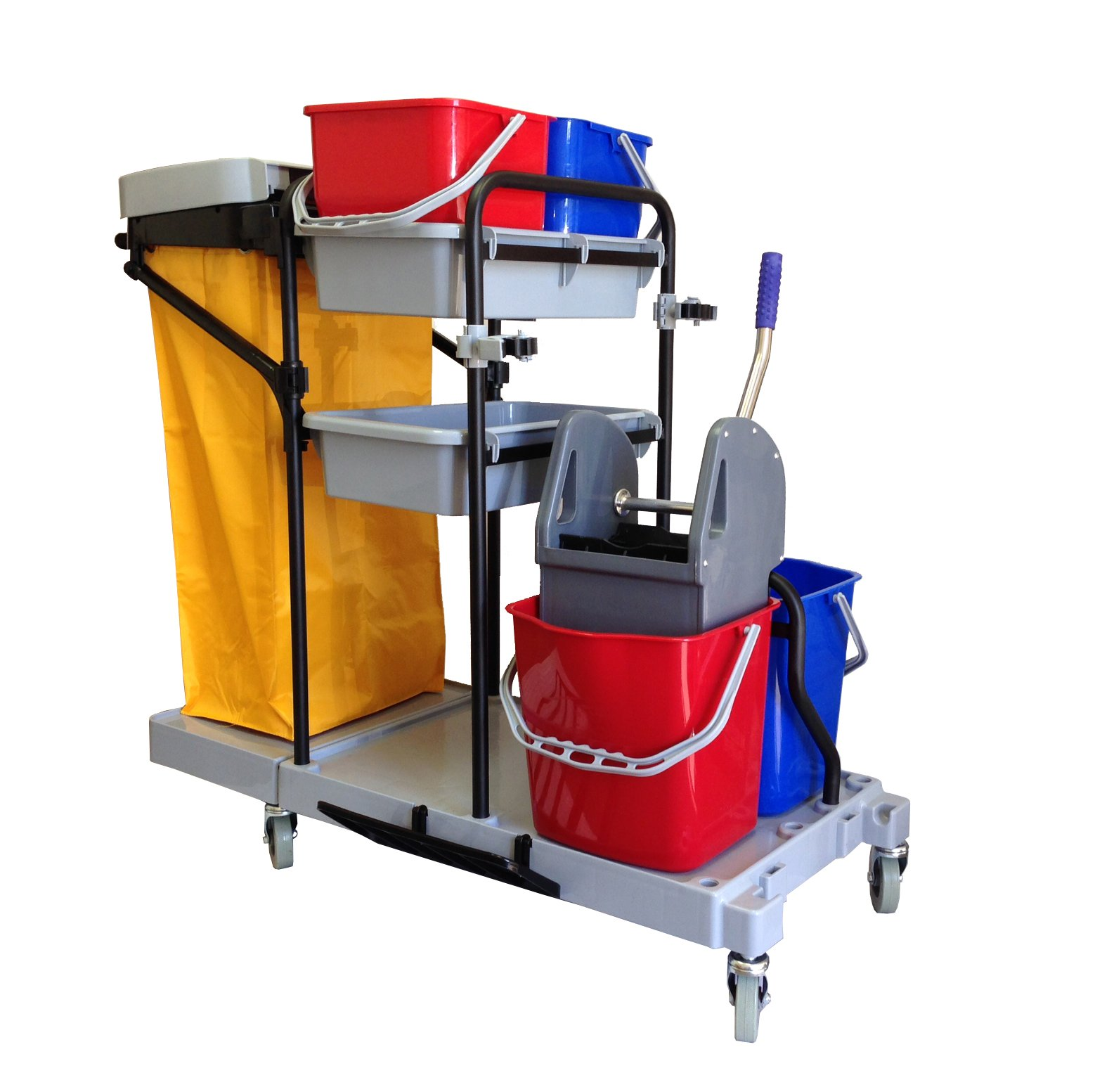 Industrial Housekeeping Janitorial Cart 4 Buckets 1 Wringer 1 Vinyl Bag AF08173 by Farag Janitorial