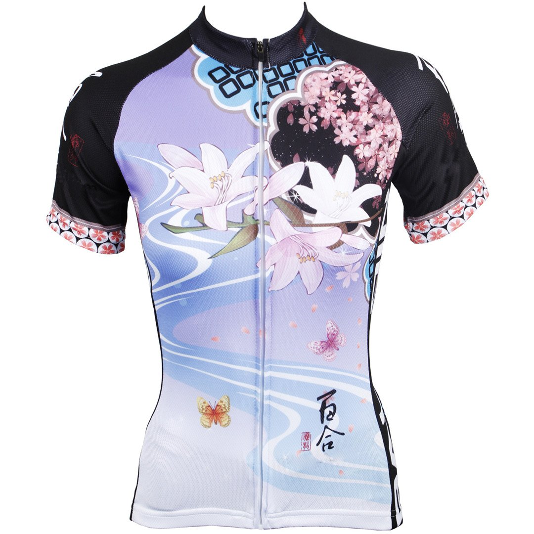 Rosfajiama Lily Womens Short Sleeve Cycling Jersey Jacket Moisture Wicking Outdoors Sports Shirt Quick Dry Breathable Mountain Clothing Bike Top