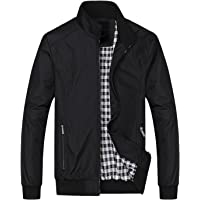 Springrain Men's Casual Stand Collar Slim Leather Sleeve Bomber Jacket