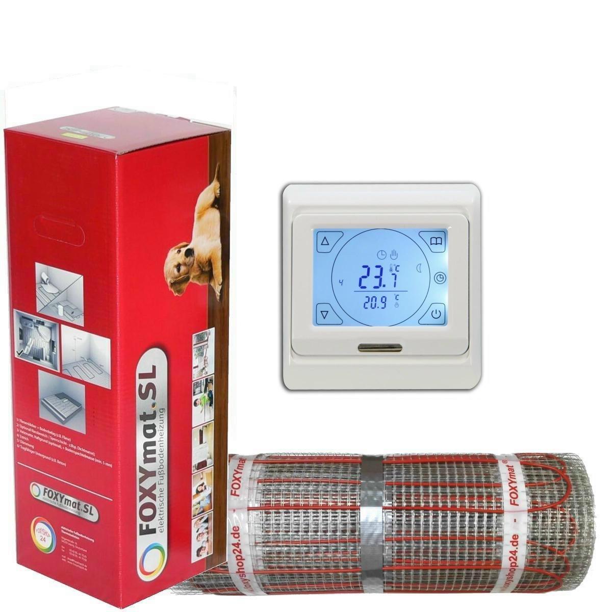 200 Watt pro m/²,f/ür die schnelle Erw/ärmung mit Thermostat QM-BLUE-TS,Komplett-Set 1.0 m/² FOXYSHOP24-elektrische Fu/ßbodenheizung PREMIUM MARKE FOXYMAT.SL RAPID 0.5m x 2m