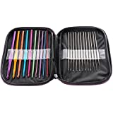 DTOL 22 Pcs Mixed Aluminum Handle Crochet Hook Knitting Knit Needle Weave Yarn Set
