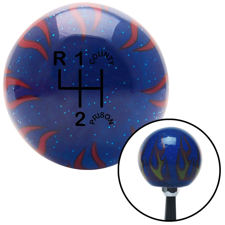 Black Shift Pattern CP3n American Shifter 251477 Blue Flame Metal Flake Shift Knob with M16 x 1.5 Insert