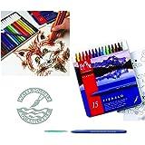Caran d'Ache Fibralo Lot de 15 stylos fibre dans une boîte en métal