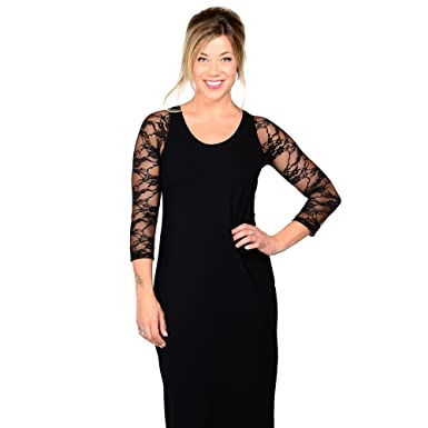 5d5b9a1313ba94 Sleevey Wonders Women s Basic 3 4 Length Lace Sleeve Black Size X-Small
