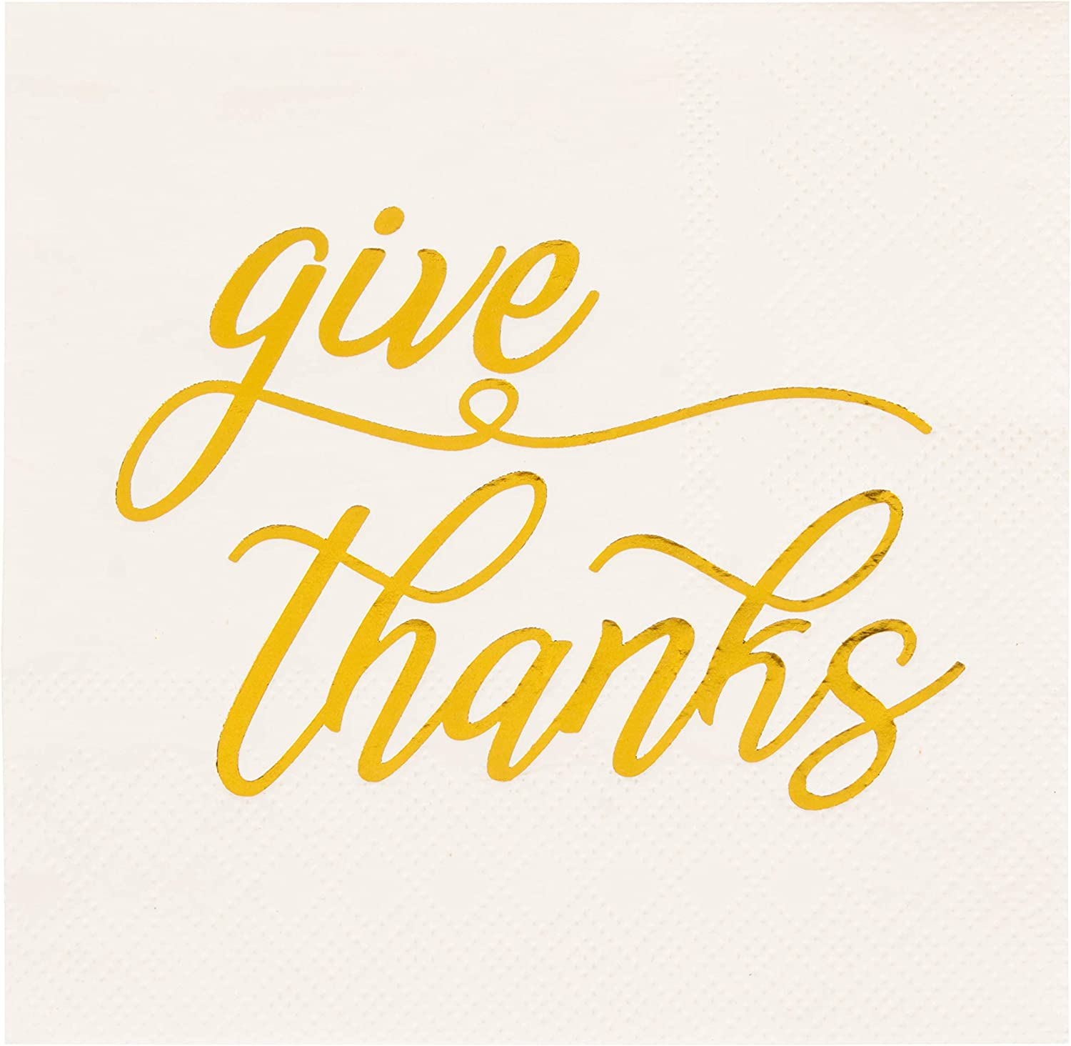 Give Thanks White Paper Napkins for Thanksgiving Party (5 x 5 In, 50 Pack)