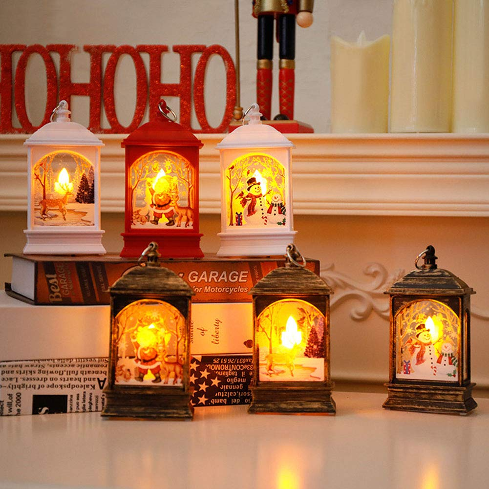 Romsion Home For Christmas Decoration Small Wind Lamp Candlestick Lamp Old Man Snowman Elk Decoration Night Light Bronze Santa Claus