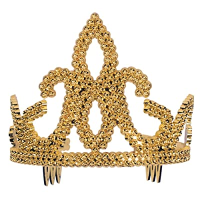 Forum Novelties Women's Tiara-Plastic with Combs Gold Party Supplies, Standard 51863: Toys & Games