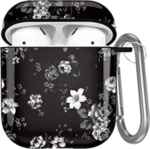 Hamile Compatible with Airpods Case Cover Cute Protective Case for Apple Airpods 2 & 1, Fadeless Pattern Shockproof Hard Case Cover with Portable Keychain for Girls Women Men - Grey Floral