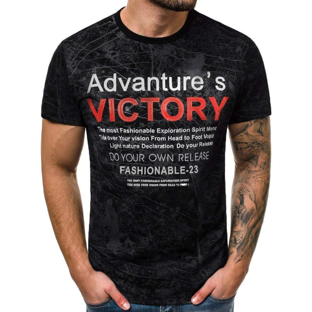 Winsummer Men's Summer T-Shirt Casual Graphic Print Tshirts Summer Man Short Sleeve Tee Shirts Black