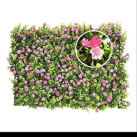 seto artificial con flores faux greenery privacidad pantallas verde seto telón de fondo plástico jardín falsa valla mat panel enrejado decoración de pared por yunhigh: Amazon.es: Hogar