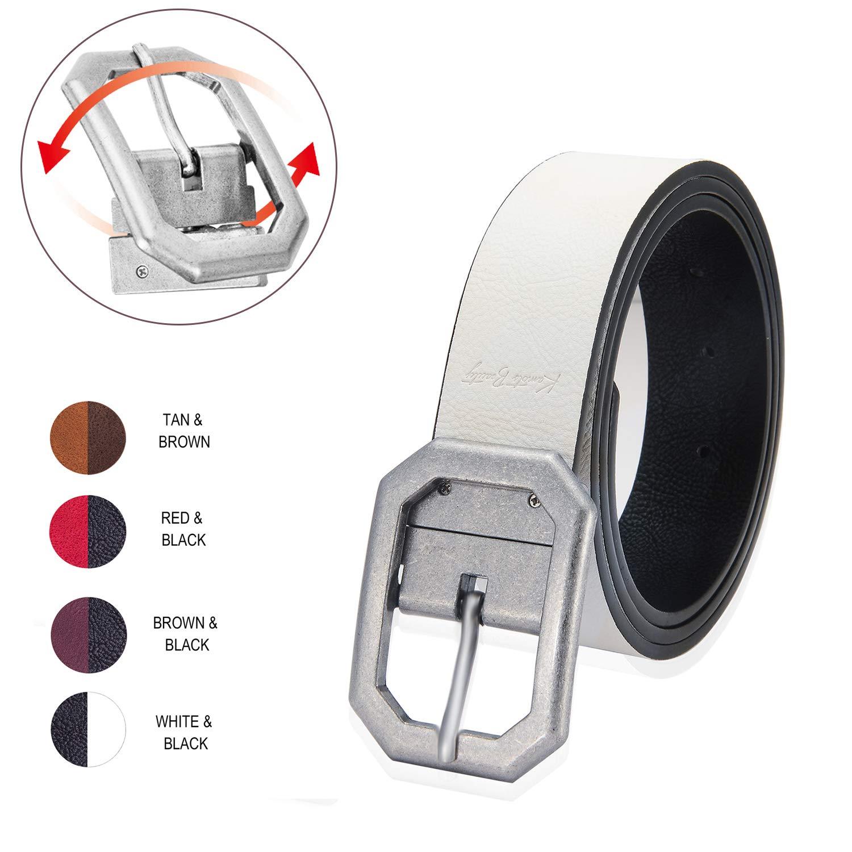 Reversible Leather Belts for Women with 1.25 Wide Solid Brown Western Waist Sash Waistband Men Silver belt Buckle (M) Kamots Beauty JSB 31