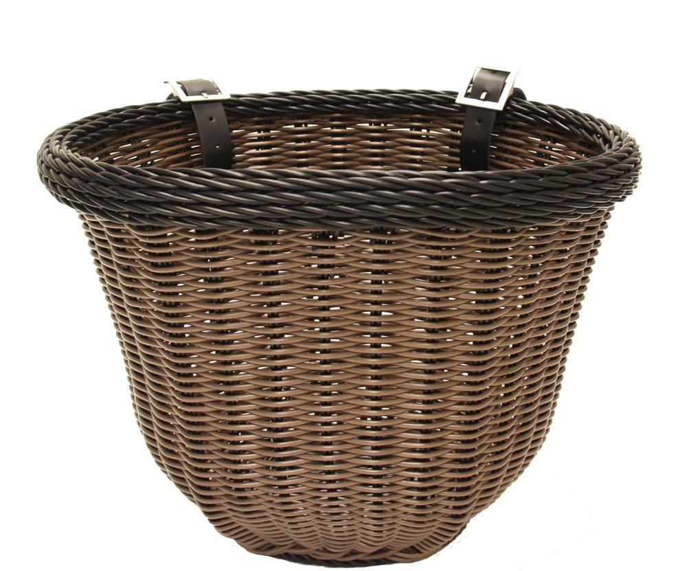 Colorbasket 01396 Front Handle Bar Adult Bike Basket, Water Resistant, Leather Straps, Brown with Black Trim