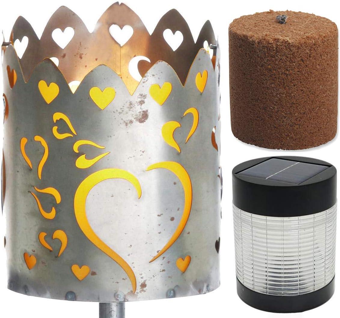 Novaliv Gartenfackel Feuer Feuerschale Metall mit Stiel Brennmittel Solarlampe LED