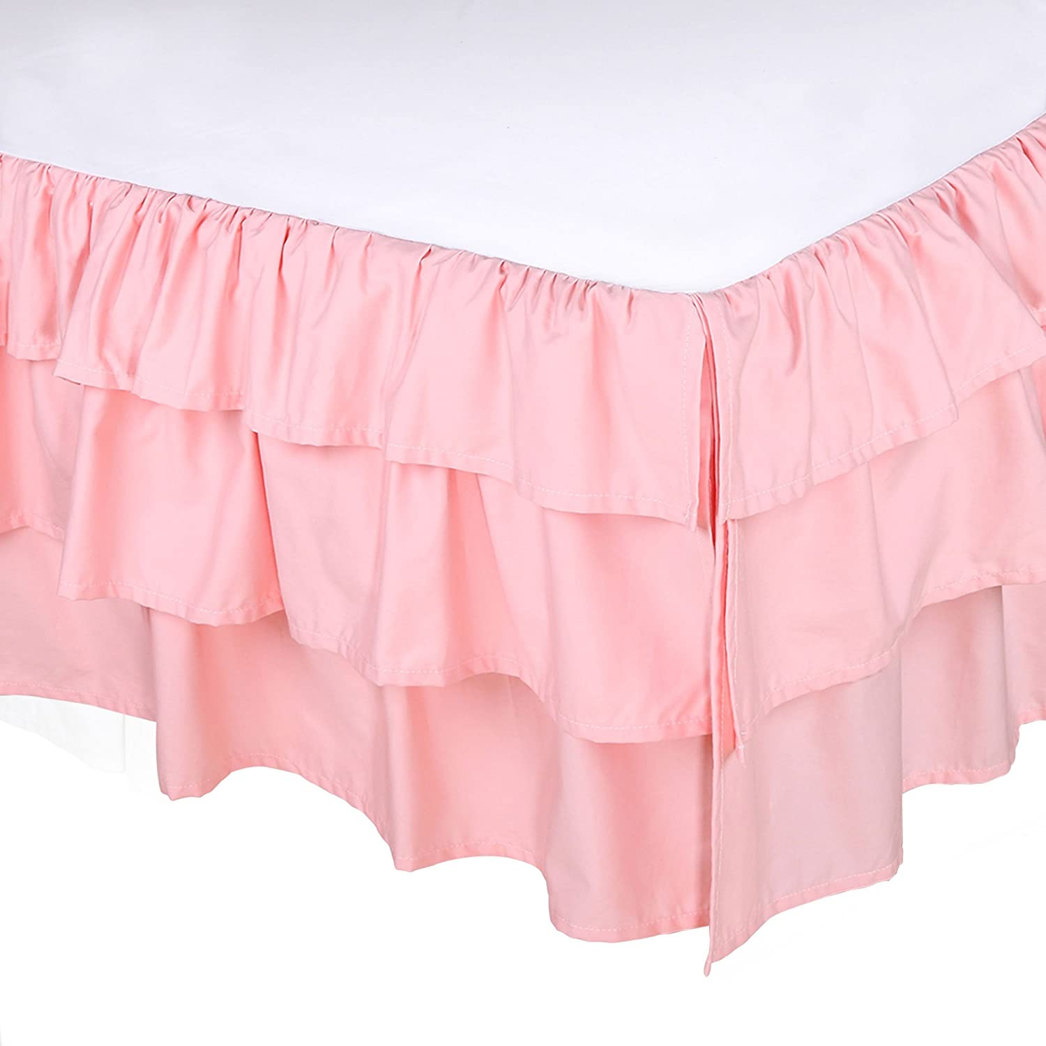 Coral Pink Three Layered Crib Dust Ruffle by The Peanut Shell Farallon Brands DRLSDLC