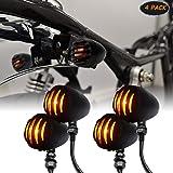 LEAGUE&CO 4 Intermitentes Universales para moto Custom, Bombilla Redonda de Luz en Metal Negro