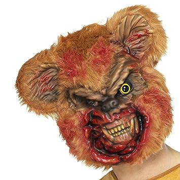 Máscara de Zombi Oso de Peluche | Antifaz Oso de Felpa Terrorífico | Careta Halloween |