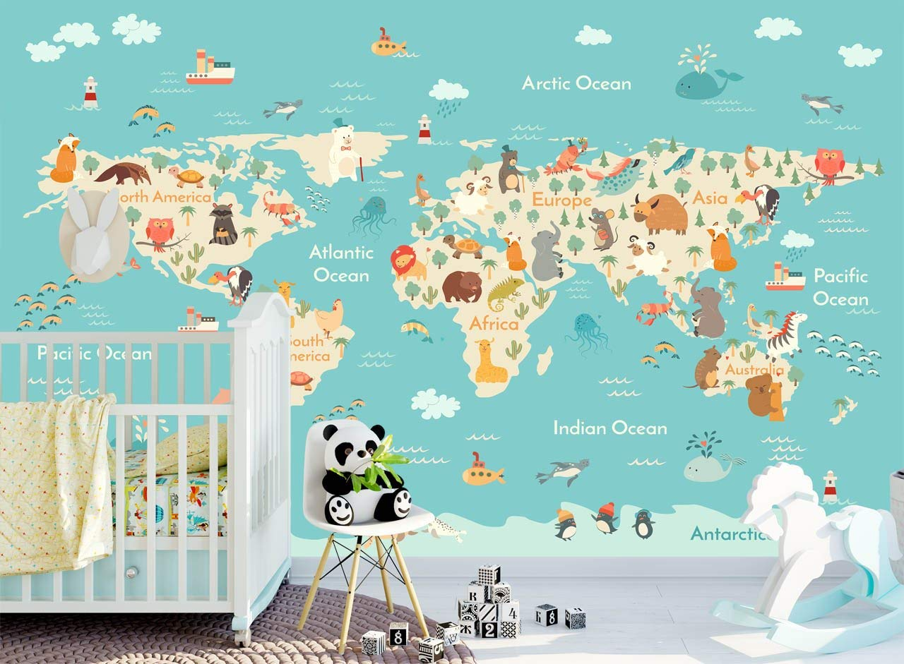Amazon.com: World Map with Ocean Animals Wallpaper for Kids Bedroom ...