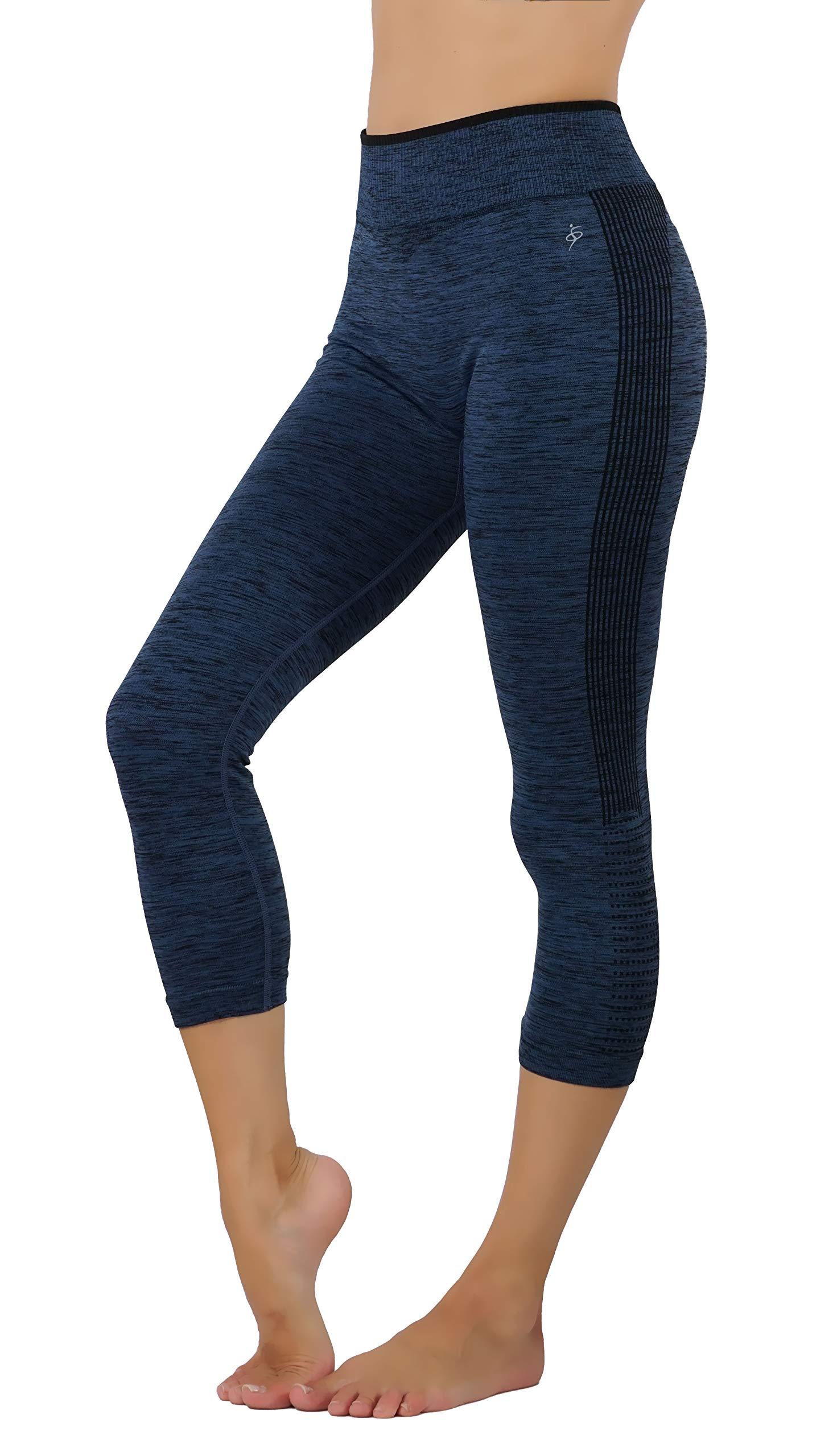 Womens Yoga Pants Workout Leggings Printed Ombte (L/XL US Size 8-12, YGC604-DBL)