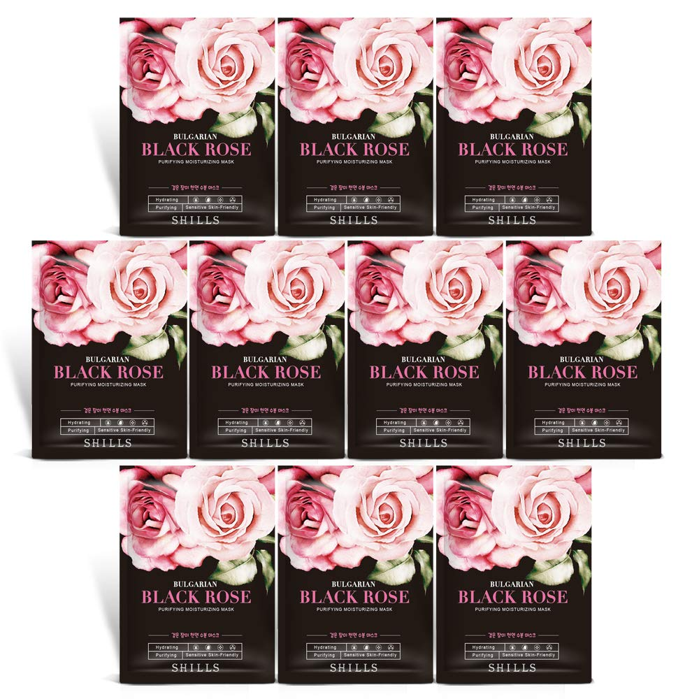 Charcoal Mask Rose Water Mask Sheet, Hydrating Face Mask Purifying Mask - 10 Piece