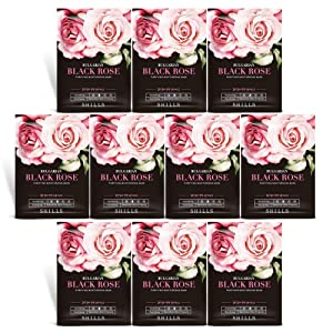 SHILLS Charcoal Mask, Rose Water Mask Sheet, Hydrating Face Mask, Purifying Mask, Brightening Facial Mask 10 Piece Combo Pack