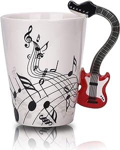 12.9 Oz Guitar Mug Music Note Coffee Mug Ceramic Guitar Music Cup Mug for Guitar Players Musicians,Red