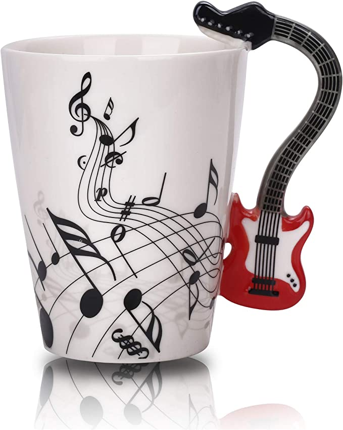12.9 Oz Guitar Mug Music Note Coffee Mug Ceramic Guitar Music Cup Mug for Guitar Players Musicians,Red