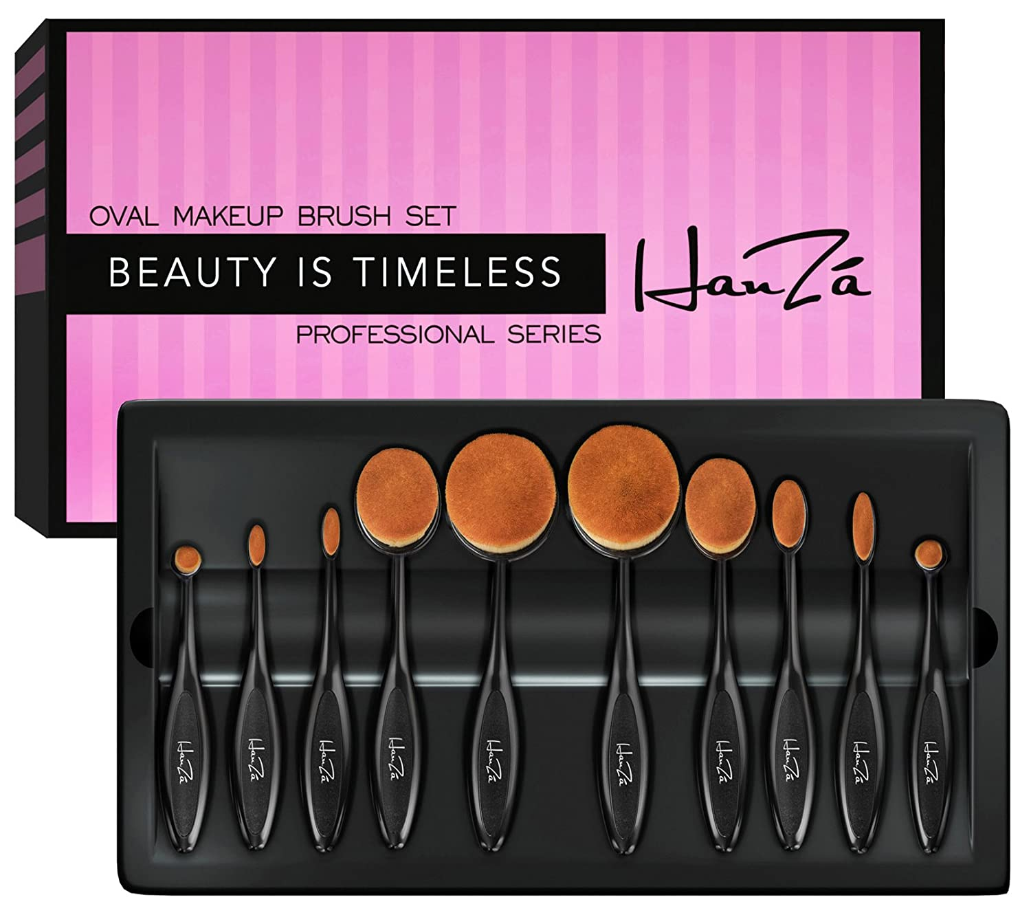 Makeup Brushes by HanZá - 10 PIECE Professional Oval Makeup Brush Sets For Powder Blush Foundation Concealer Eyeliner Eye Shadow Etc. Easily Blends and Contours Cosmetics HanZá HANZA-2