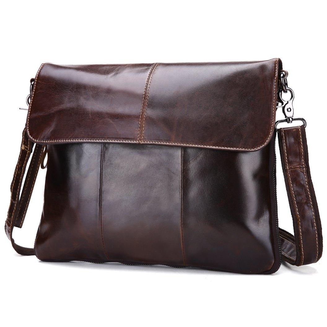 BAIGIO Leather Messenger Bag for Men or Women Unisex Cowhide Crossbody Business Shoulder bag Slim Purse (Dark Brown)