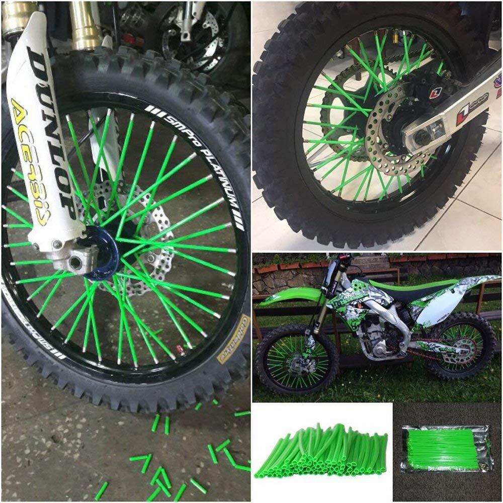 72Pcs Green Wheel Rim Spoke Skins Covers Wrap Decor Protector Kit Per cerchi Motocross 19-21 Kawasaki KLX250 KX125 KX250 KX500 KX250F KX450F KLX450R KLX150 Motocross Motocross Dirt Bike