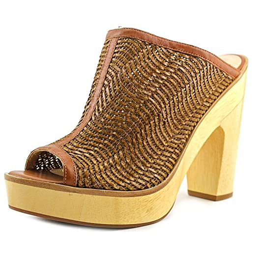 Clean And Fashion Pour La Victoire Leather Tan Sanya Woven And Wood Mules