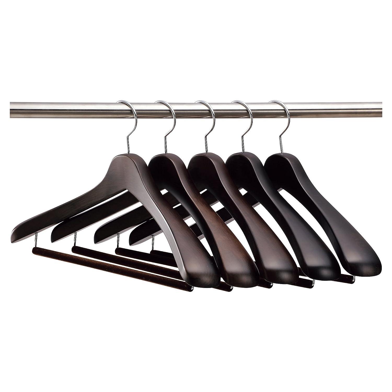 【ナカタハンガー】日本製 木製メンズ スーツハンガー 5本組