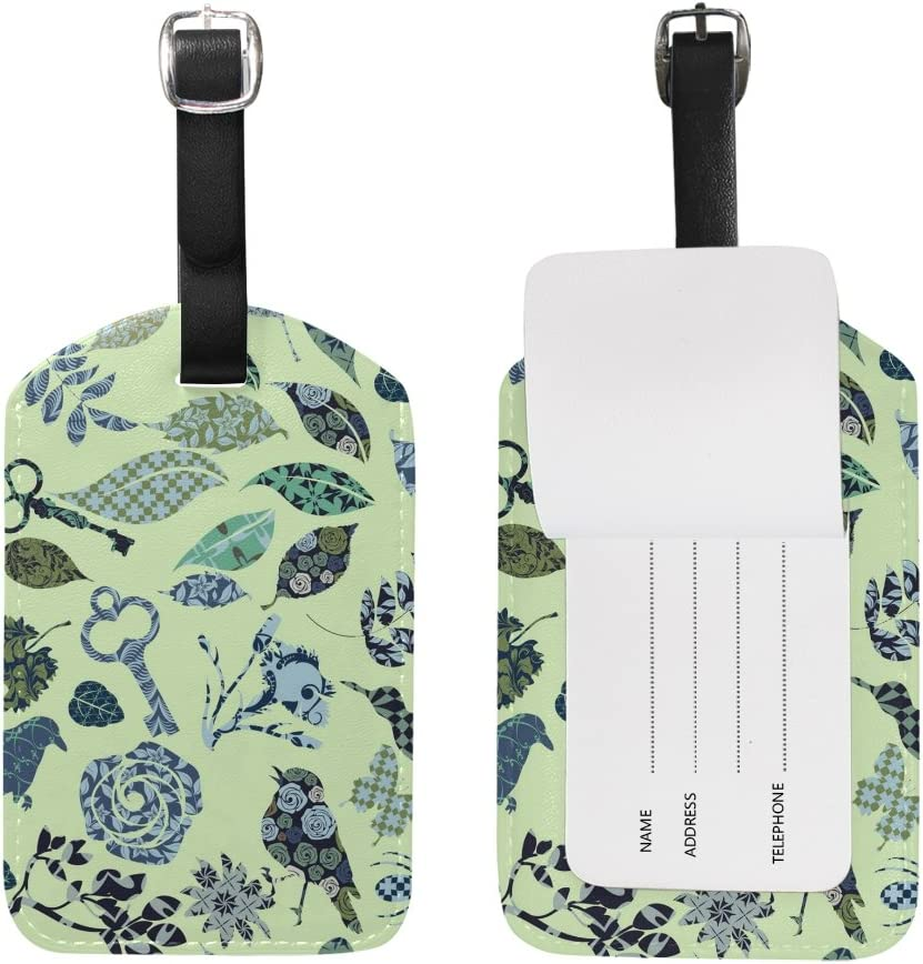 Blue Viper Nature Silhouettes Stuffed Of Abstract Shapes PU Leather Luggage Tags Personalized