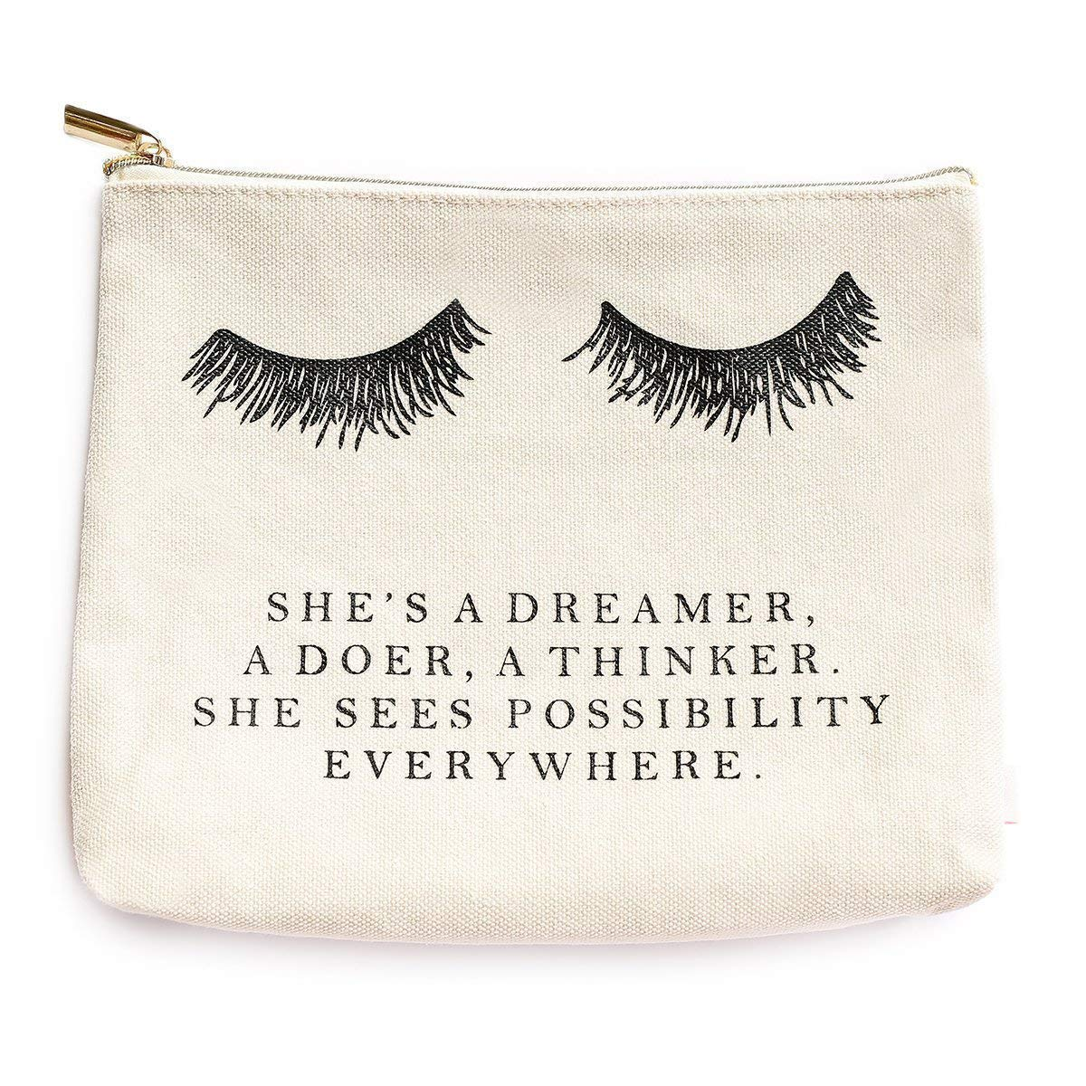 Eyelash She s A Dreamer Cotton Canvas Makeup Bag Inspirational Motivational Gift for Her Makeup Organizer Eyelashes Make Up Bag Canvas Bag Lashes Toiletry Bag Cosmetic Bag Lash Travel Accessories