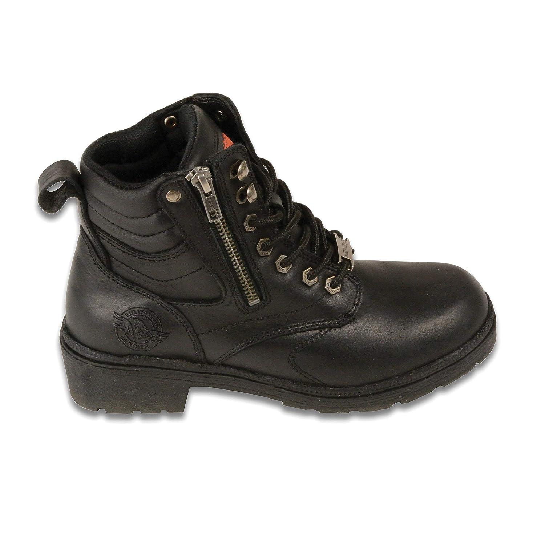 7.5W 7 1//2W Black Milwaukee Leather Boots MBL9320W Womens Wide Width Black Side Zipper Plain Toe Boot